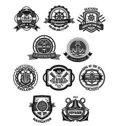 Nautical emblem and marine heraldic badge set vector
