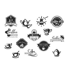 coffee cups icons for cafeteria or cafe vector image