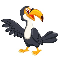 Cute toucan bird cartoon waving vector image