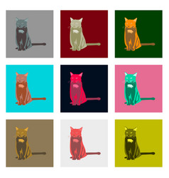 Set of in flat style cat vector