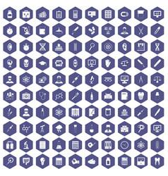 100 lab icons hexagon purple vector