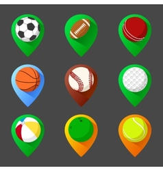 Mapping geo tag pin icon set with balls vector