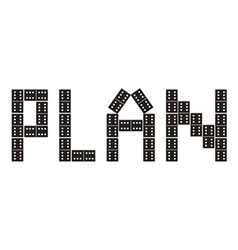 Word plan made of dominoes vector