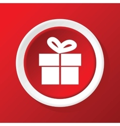 Gift box icon on red vector