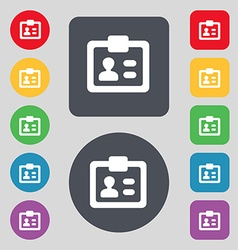 Id identity card icon sign a set of 12 colored vector