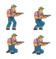 Red neck crouching sprite vector