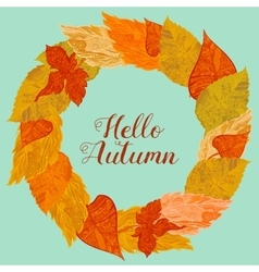 Wreath of autunm foliage in bright colors vector