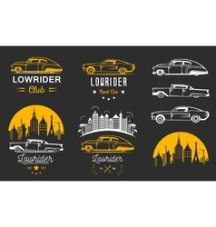 Set vintage lowrider logo badge and sign vector