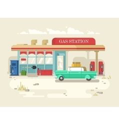 Gas stantion retro flat design vector image