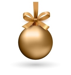 Gold christmas ball with ribbon and a bow vector