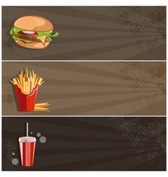 Fast food banner with burgerfries and cola vector