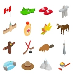 Canada isometric 3d icons set vector