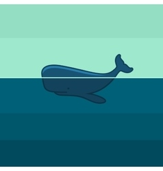 Blue whale swim in ocean vector