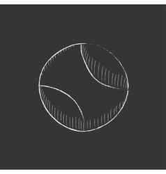 Tennis ball drawn in chalk icon vector