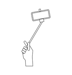 Hand holding a selfie stick icon outline style vector