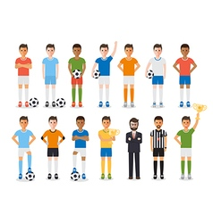 Soccer player football sport athlete characters vector image