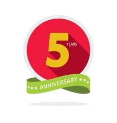 Anniversary 5 years logo badge 5th birthday flat vector