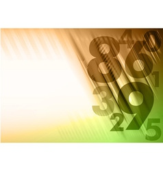 abstract numbers corner orange green vector image
