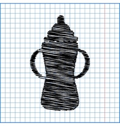 Baby bottle icon with pen effect on paper vector