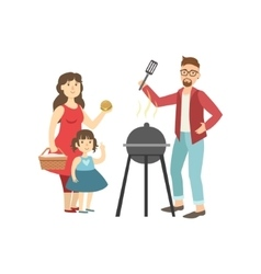 Barbeque picnic for family vector