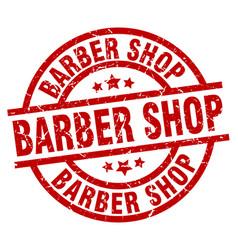 Barber shop round red grunge stamp vector