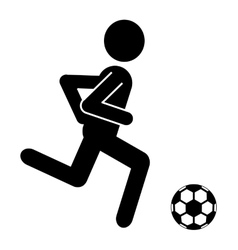 black avatar man with soccer ball graphic vector image