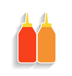 bottles of mustard and ketchup flat color icon vector image