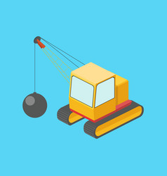 building destruction machine isometric vector image