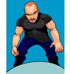cartoon aggressive man looking sullenly vector image vector image