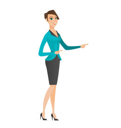 Caucasian business woman pointing to the side vector