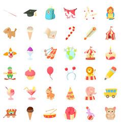 Celebration of birthday icons set cartoon style vector