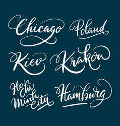 chicago and hamburg hand written typography vector image