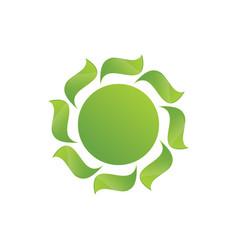 Circle green leaves swirl logo image vector