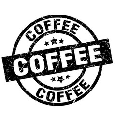 Coffee round grunge black stamp vector