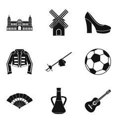 European icons set simple style vector
