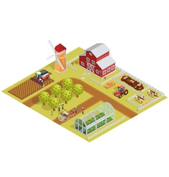 Farm isometric template vector
