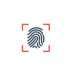 Flat icon fingerprint element vector