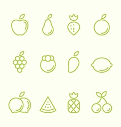 Fruit outline icon set flat design vector