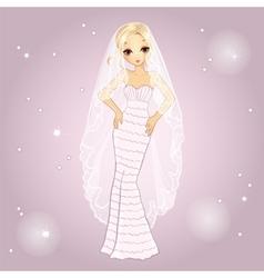 Girl in retro wedding dress vector