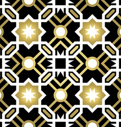 Gold ceramic tile abstract seamless pattern vector image