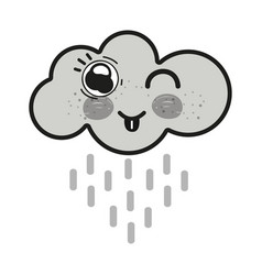Grayscale kawaii raining cloud funny with tongue vector
