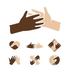Isolated abstract dark and light skin human hands vector