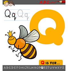 letter q with cartoon quenn bee character vector image