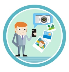 Man in suit with smartphone shows vacation photos vector