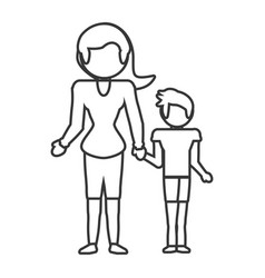 mother and son relation outline vector image vector image