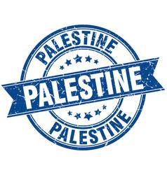 Palestine blue round grunge vintage ribbon stamp vector