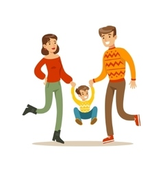 Parents holding hands with kid happy family vector