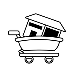 Real estate house shop cart outline vector