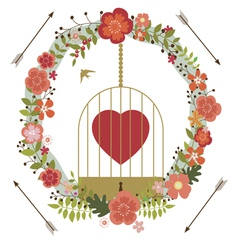 Romantic valentine design with birds cage vector image
