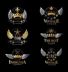 Royal crowns emblems set heraldic design elements vector